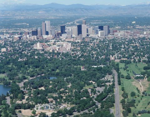 Denver Colorado aerial view