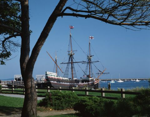Mayflower replica at anchor in Plymouth, Massachusetts