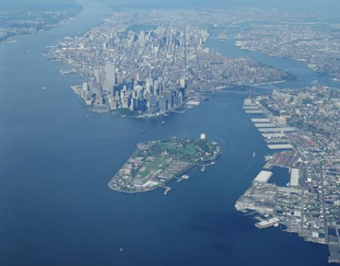 New York City aerial view - New York harbor, Governors Island, and lower Manhattan