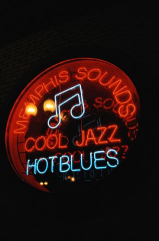 Memphis, Tennessee neon sign - memphis sounds - cool jazz, hot blues