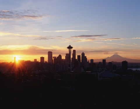Seattle, Washington skyline at sunrise