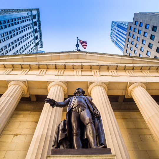 Federal Hall and George Washington Statue on Wall Street in New York City, New York