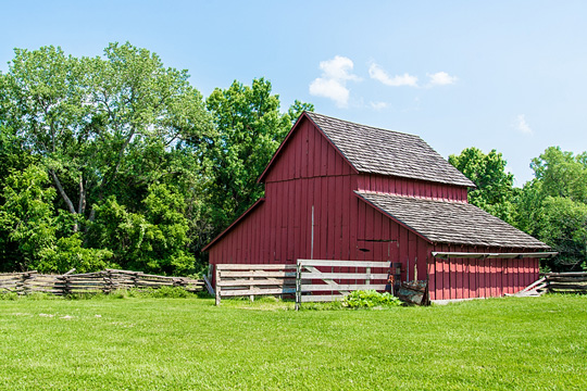Old Red Barn at Missouri Town 1855 in Lee's Summit, Missouri